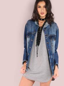 Distressed Raw Cut Denim Jacket DENIM