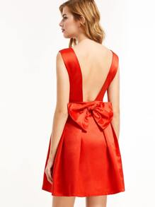 Red Open Back Bow Detail Party Dress