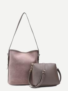 Grey Nubuck Leather Oversized Shoulder Bag Set