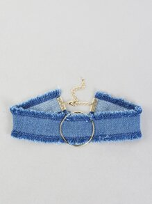 Dark Washed Frayed Denim O Choker BLUE