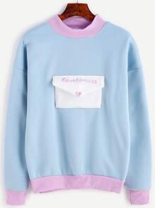 Pale Blue Contrast Trim Envelope Pocket Embroidered Sweatshirt