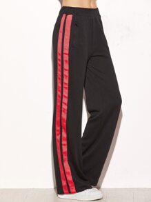Black Side Striped Zip Pocket Wide Leg Pants