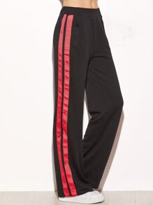 Black Side Striped Zip Pocket Wide Leg Pants