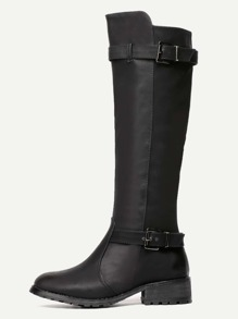 Black Double Buckled PU Full Zip Tall Boots