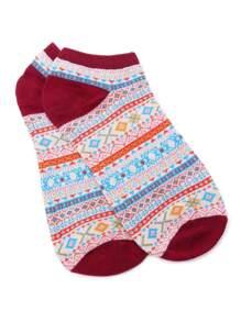 Burgundy Tribal Print Ankle Socks