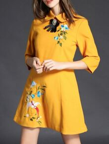 Yellow Lapel Flowers Embroidered Dress