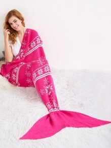 Hot Pink Snowflake Print Knit Mermaid Blanket