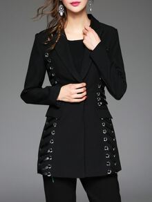 Black Lapel Pockets Contrast Pu Coat