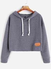 Dark Grey Hooded Drop Shoulder Patch Sweatshirt