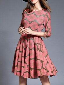 Pink Belted Jacquard A-Line Dress