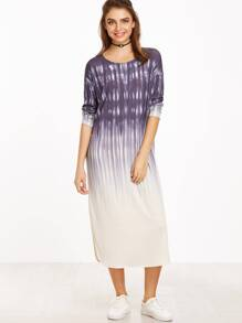 Purple Ombre Drop Shoulder Curved Hem Tee Dress