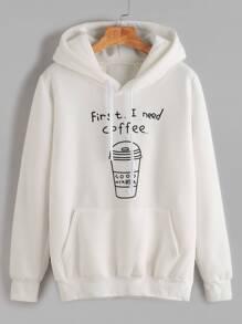 White Printed Hooded Sweatshirt With Pocket