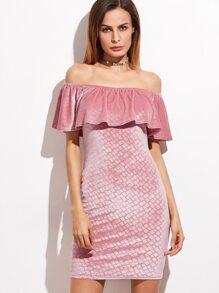 Pink Geo Print Off The Shoulder Ruffle Velvet Dress