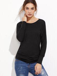 Black Raglan Sleeve Shirred Side T-shirt