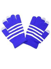 Sky Blue Striped Knit Textured Telefingers Gloves