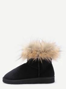 Black Velvet Soft Sole Fur Cuff Snow Boots