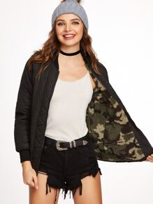 Black Camo Fluffy Fleece Lined Double Sided Jacket