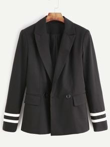 Black Striped Sleeve Flap Pocket Front Blazer