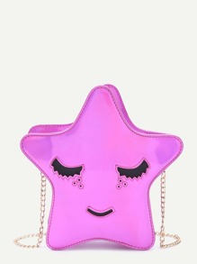 Glossy Star Shap Rose Pink Cute Chain Bag