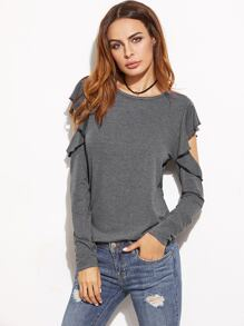 Heather Grey Ruffle Open Shoulder T-shirt