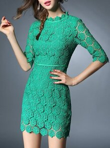 Green Crochet Hollow Out Sheath Dress
