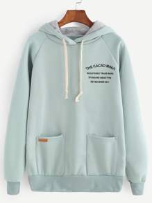 Pale Green Letter Print Raglan Sleeve Drawstring Hooded Sweatshirt