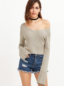 Grey Double V Neck Crop Sweater