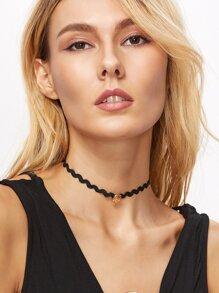Black Wave Band Metal Skull Choker Necklace