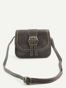 Vintage Buckled PU Topstitch Shoulder Bag