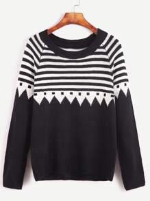 Black Striped Raglan Sleeve Sweater