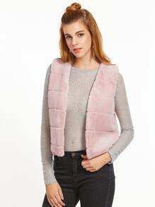 Pink Collarless Striped Faux Fur Vest