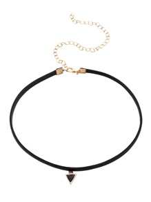 Black Triangle Pendant Thin Choker Necklace