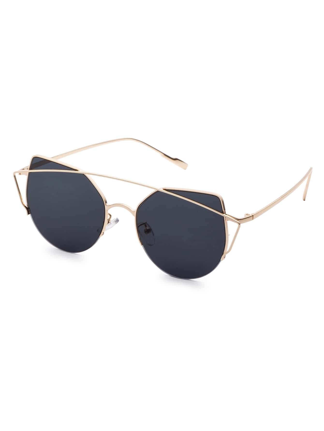 Gold Frame Double Bridge Black Cat Eye Sunglasses ...