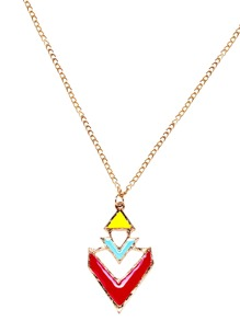 Gold Plated Geometric Colorblock Hollow Out Pendant Necklace