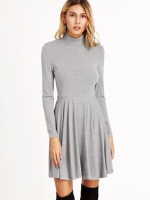 Heather Grey Fit And Flared Jersey Dress