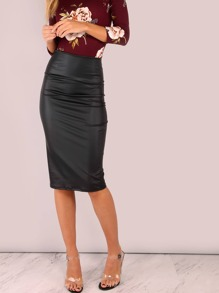 Faux Leather PU Pencil Skirt BLACK