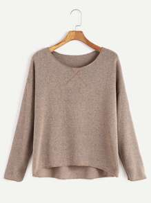 Khaki Drop Shoulder Dip Hem T-shirt