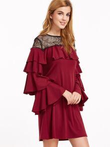 Burgundy Contrast Sheer Neck Layered Sleeve Ruffle Dress