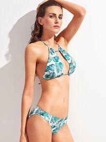 Turquoise Tropic Print Halter Cut Out Bikini Set