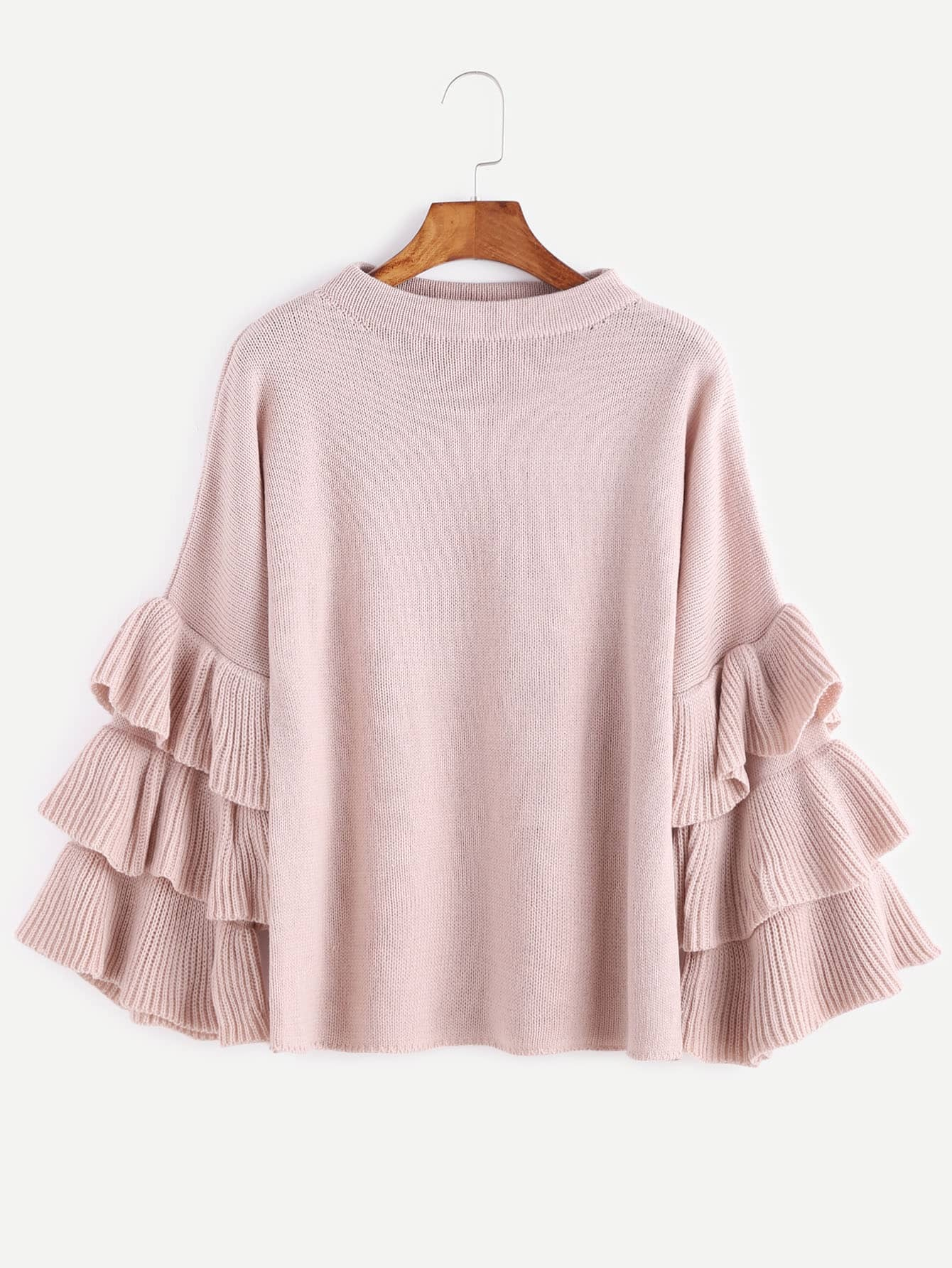 Pink Layered Ruffle Sleeve Pullover Sweater EmmaCloth-Women Fast ...