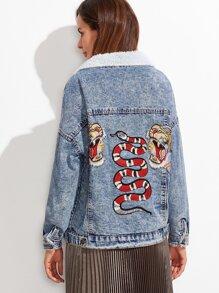 Blue Drop Shoulder Bleached Embroidered Sherpa Lined Denim Jacket