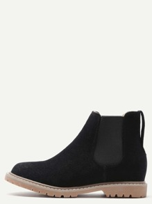 Black Nubuck Leather Round Toe Chelsea Boots