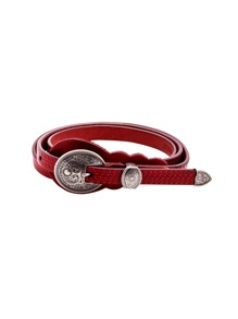 Red Vintage Carved Buckle Knurling Skinny Belt