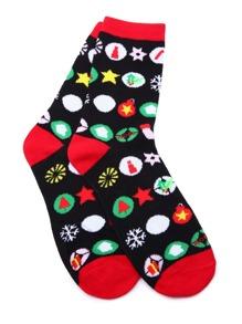 Black Contrast Icon Print Sock