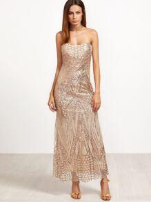 Gold Sweetheart Zipper Back Sequined Sheath Dress