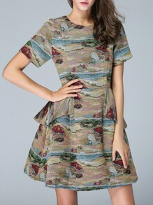 Multicolor Peplum Print A-Line Dress