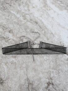 Mesh Metal Pendant Choker SILVER