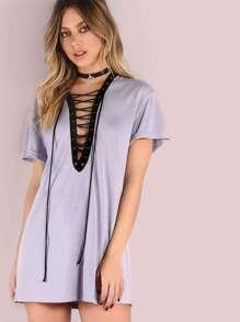 Purple Camo Print Contrast Lace Up V Neck Tee Dress