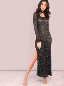 Sleeved Metallic Blend Sweater Knit Slit Maxi Dress BLACK