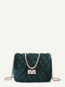 Dark Green Velvet Twistlock Closure Quilted Chain Bag